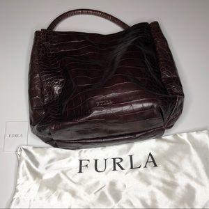 Furla Croc Embossed Burgundy Leather Shoulder  Bag